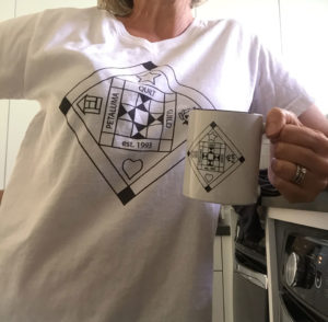 Petaluma Quilt Guild logo t-shirt and mug